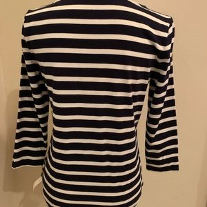 Talbots Tops - Talbots Christmas Cotton White and Navy Top